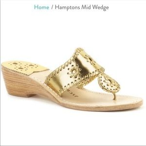 Jack Rogers Gold Wedge Sandals